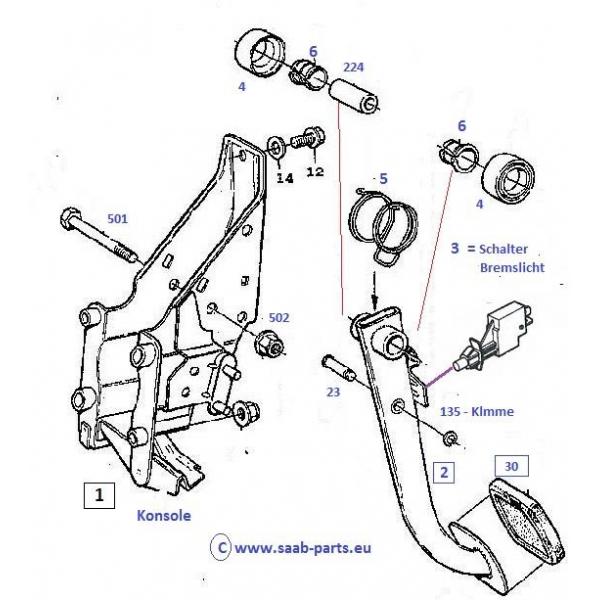 bedienung pedale  saab parts 9000   1985 -1998   bremsen bedienung