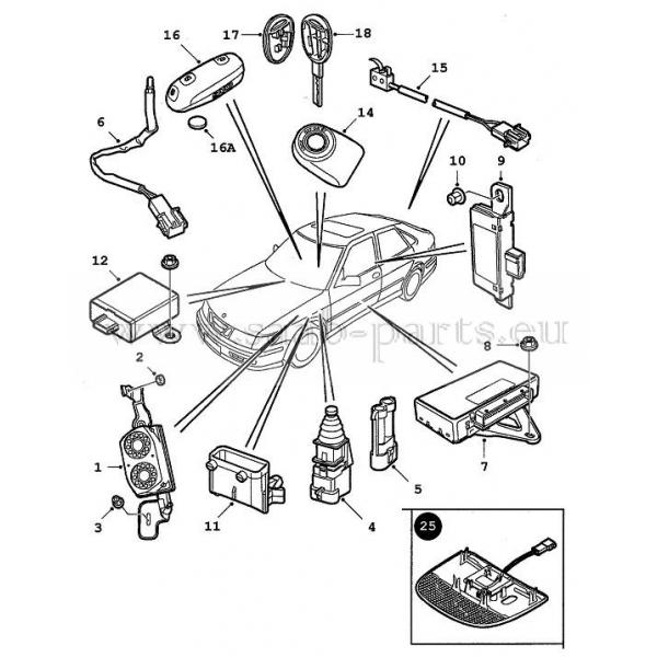 Diebstahl Alarm Saab Parts 9 3 Typ 1 1998