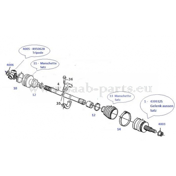 Antriebswelle vorne links SAAB 9-3 Cabriolet Automatikgetriebe