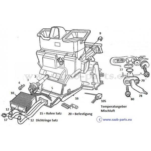 w rmetauscher saab parts 9 3 typ 1 1998 2003 heizung l ftung w rmetauscher 300. Black Bedroom Furniture Sets. Home Design Ideas