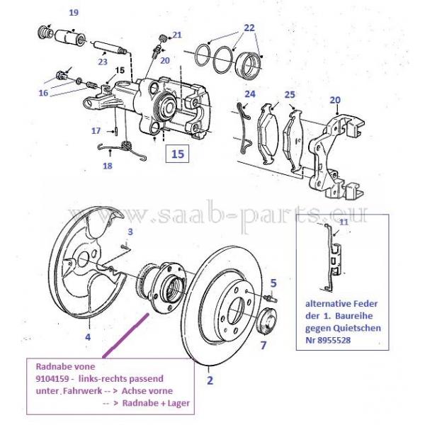 Handbremse Bremsen mit Zubehör Satz für hinten Hinterachse Saab 9-5