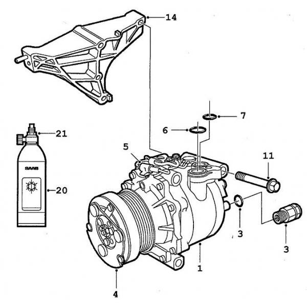 kompressor  saab parts 9-3 typ-1   1998