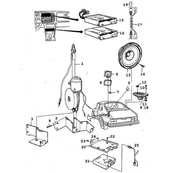 radio -antenne - audio  saab parts 900 typ 1   1978