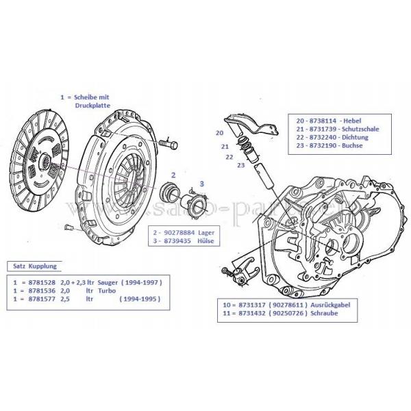 kupplung saab parts 900 2 1994 1997 getriebe. Black Bedroom Furniture Sets. Home Design Ideas