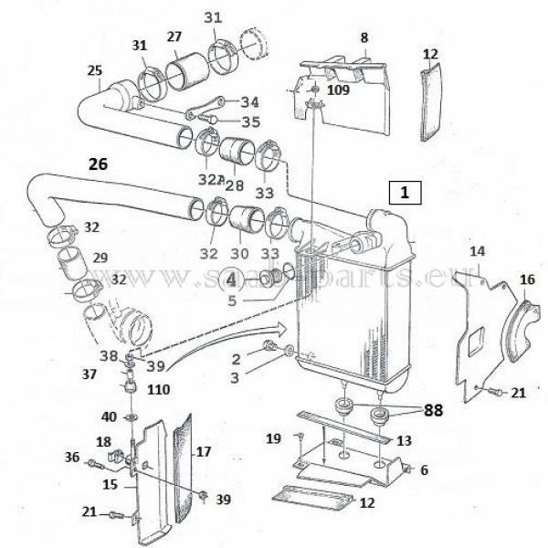 ladeluft - k u00fchler  saab parts 900 typ 1   1984 - 1993  turbolader 16-ventiler ladeluft