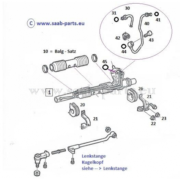 lenkgetriebe  saab parts 900-2   1994